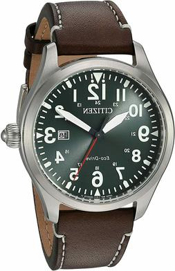 Citizen Chandler Eco Drive Green Dial Leather Band Men's Wat