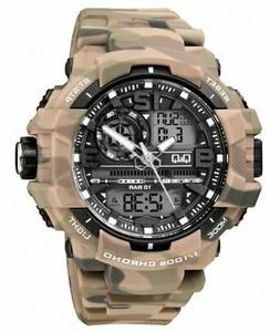 CITIZEN Q&Q CAMO $120 WORLDS BEST ANA-DIGI CHRONO 5 ALARM DU