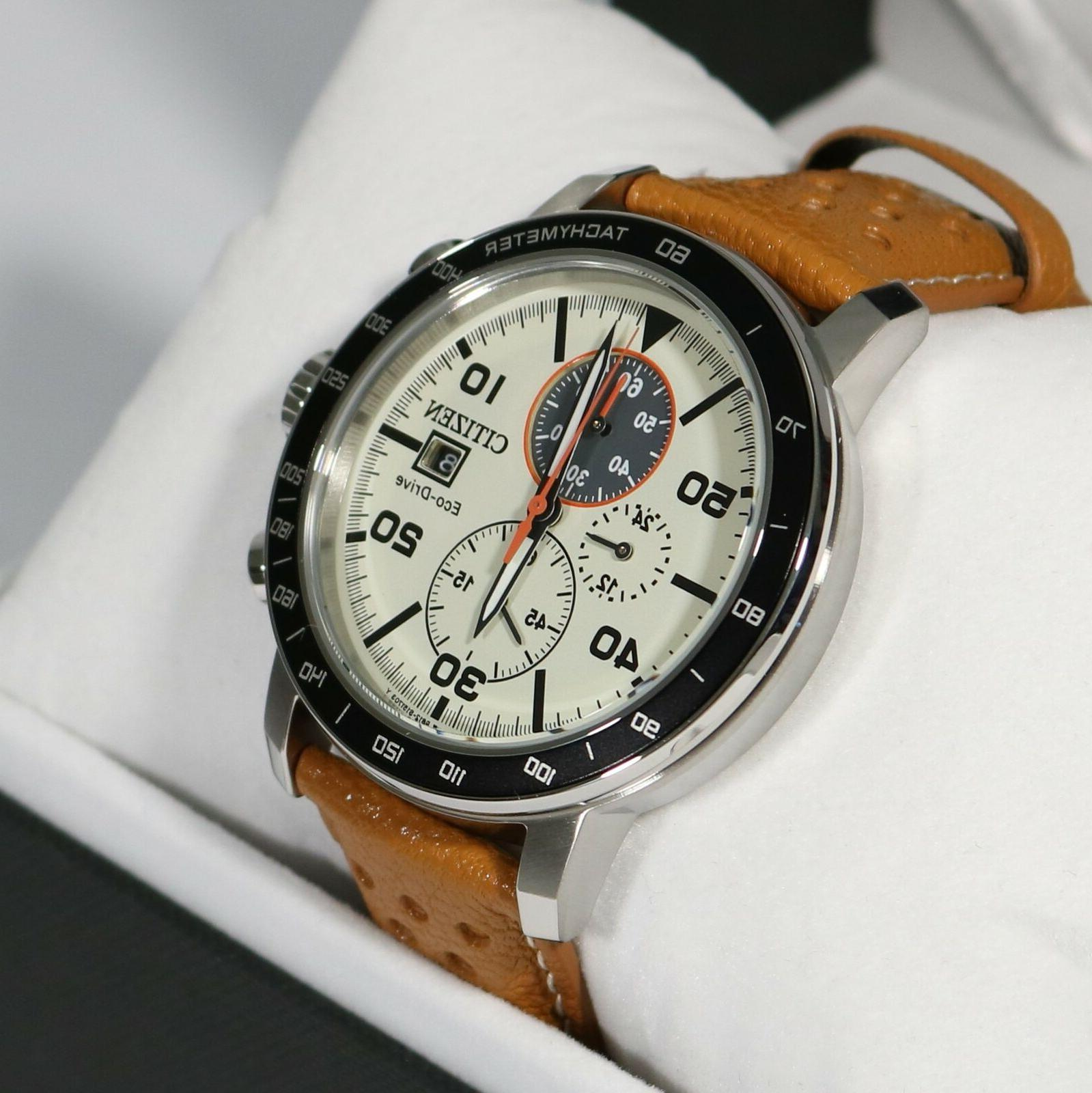 brycen ivory dial leather strap men s
