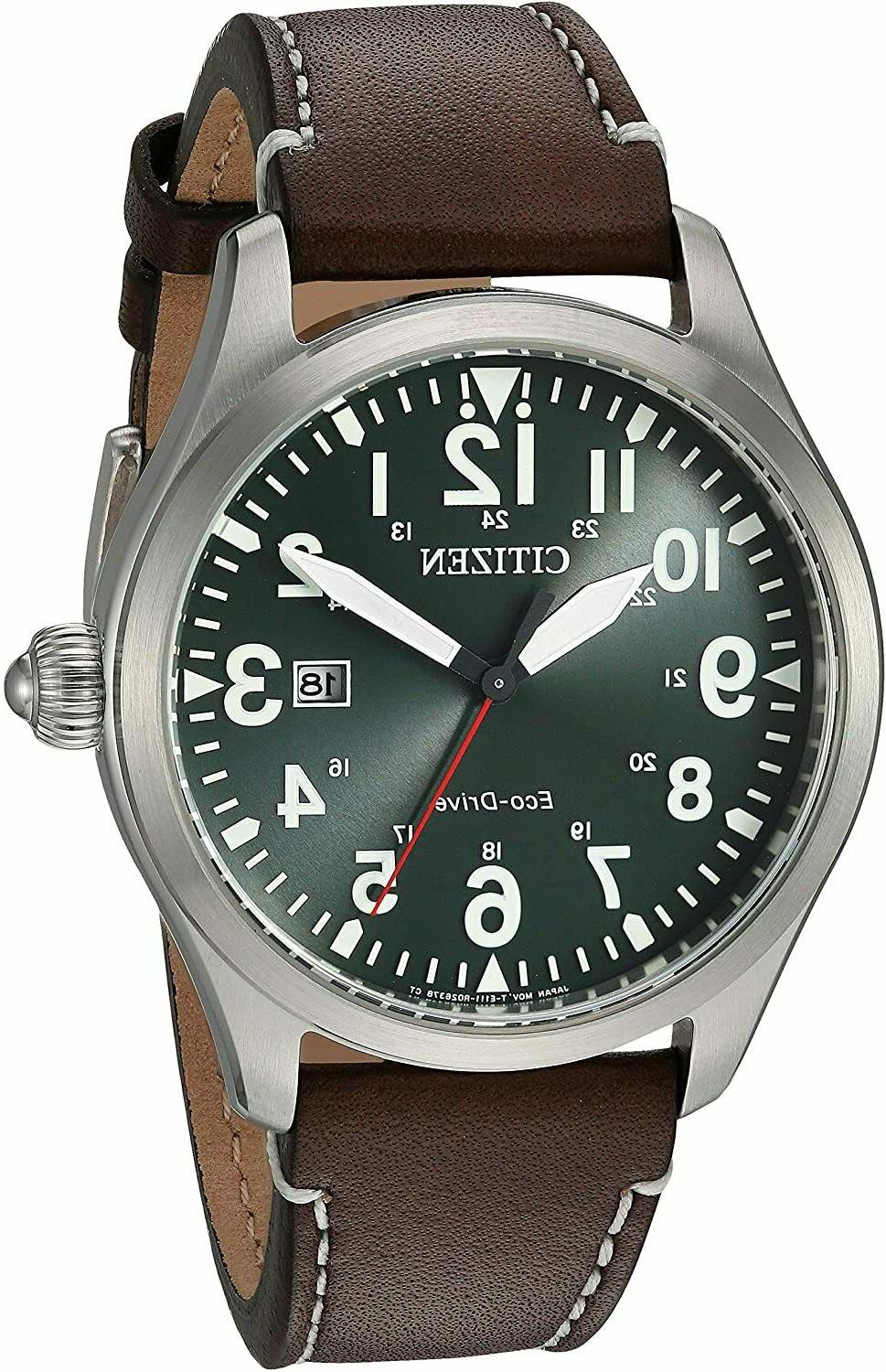 chandler eco drive green dial leather band