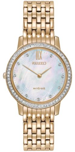 Citizen EcoDrive Ladies Silhouette Crystal Rose Gold Pearl D