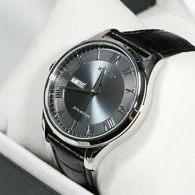 grey dial automatic men s black leather