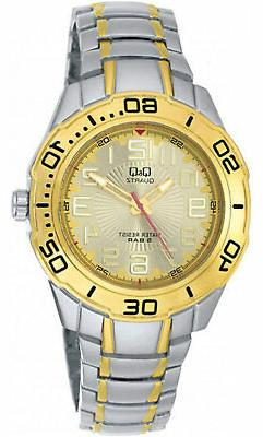Q&Q	by Citizen F348-403Y Men's Analog Watch Two-Tone Steel B