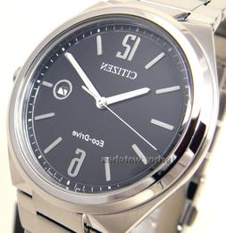 CITIZEN MEN ECO DRIVE STAINLESS STEEL BLACK FACE DATE 50m AW