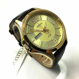 Men's Citizen Classic Day Date w. Gold Tone Leather Band Wat